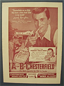 1950 Chesterfield Cigarettes With Kirk Douglas