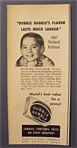 Vintage Ad: 1952 Dubble Bubble Gum w/ Richard Kollmar (Image1)
