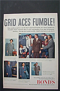 1951 Bond's Men Wear With Football Star Chuck Conerly