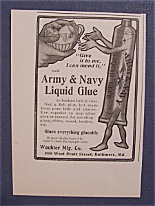 Vintage Ad: 1904 Army & Navy Liquid Glue (Image1)