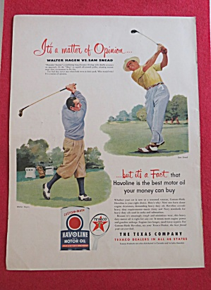 1951 Havoline Motor Oil With Sam Snead