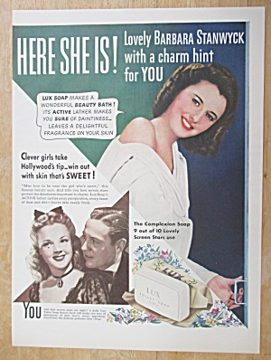 1941 Lux Toilet Soap with Barbara Stanwyck (Image1)