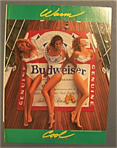 1990 Budweiser Beer Ad With Women Laying In Sun