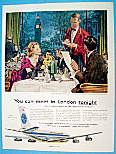 1959 Pan American Airlines Ad With Couple Eating