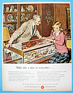 1948 Watchmakers Of Switzerland w/Girl and Watch By Utz (Image1)