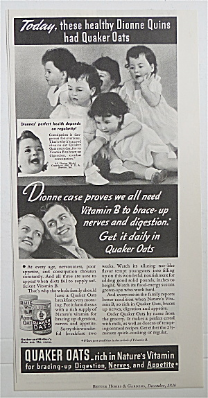 1936 Quick Quaker Oats Cereal With Dionne Quintuplets