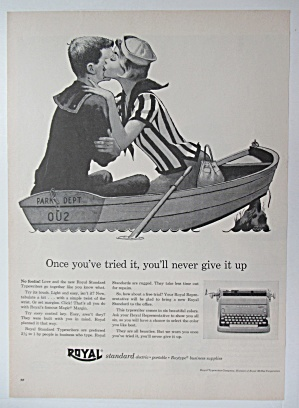 1956 Royal Typewriter with Woman Kissing Man in a Boat (Image1)