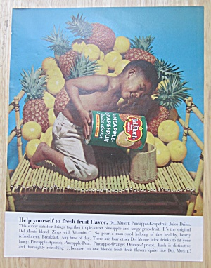 1961 Del Monte Pineapple-grapefruit Juice W/boy Pouring