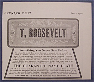 1904 Guarantee Name Plate