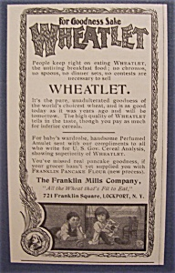 1904 Wheatlet Cereal With Two Children