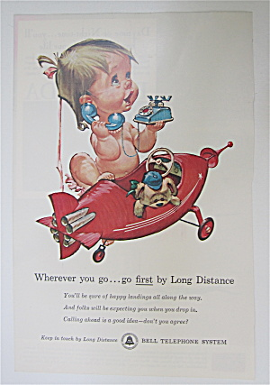 1961 Bell Telephone System W/baby Girl Talking On Phone