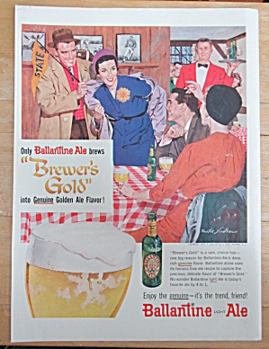 1957 Ballantine Ale with Two Couples Getting Together (Image1)