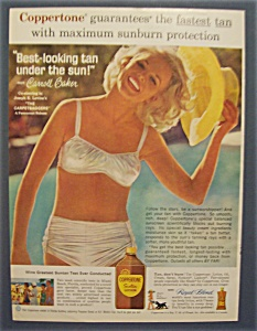1964 Coppertone Suntan Lotion With Carroll Baker