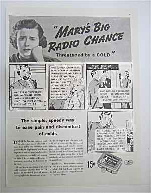 1937 Bayer Aspirin With Mary's Big Radio Chance