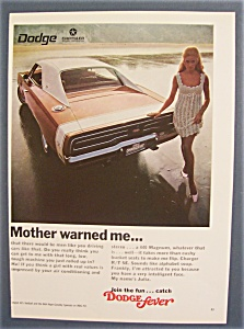 1968 Dodge Charger Rt Ad With Woman & Charger