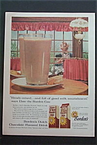 1957 Borden's Dutch Chocolate Drink With Elsie The Cow