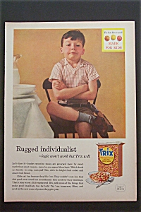 1957 Trix Cereal with Boy Sitting with a Serious Look (Image1)