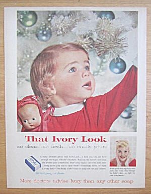 1957 Ivory Soap With Baby In Front Of Christmas Tree