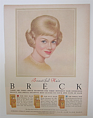 1963 Breck Shampoo with Lovely Blond Haired Woman  (Image1)