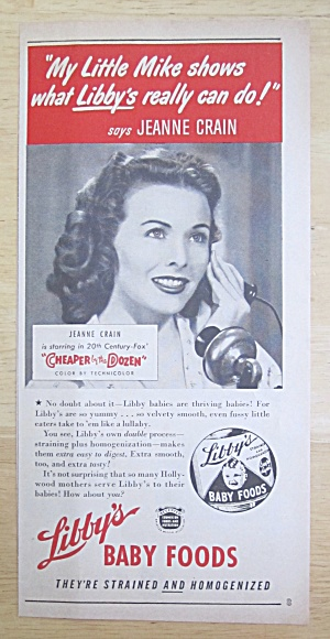1950 Libby's Baby Food with Jeanne Crain  (Image1)