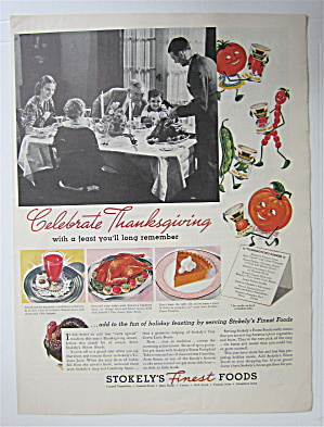 1937 Stokely's Finest Foods With Family At Thanksgiving