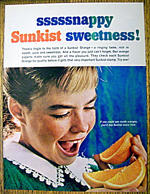 1965 Sunkist Oranges With Girl Eating Orange