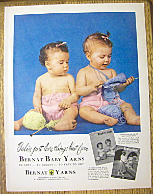 1952 Bernat Baby Yarns with 2 Babies Playing with Yarn (Image1)