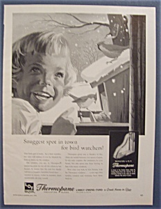 1959 Thermopane Insulating Glass w/Little Girl & A Bird (Image1)