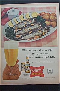 1957 Miller High Life Beer w/ Plate of Fish & Potatoes (Image1)