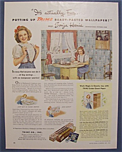 1945 Trimz Ready - Pasted Wallpaper W/ Sonja Henie