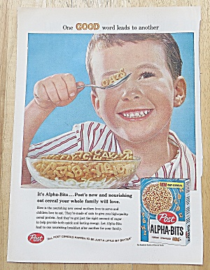1958 Post Alpha Bits Cereal with Little Boy Eating (Image1)