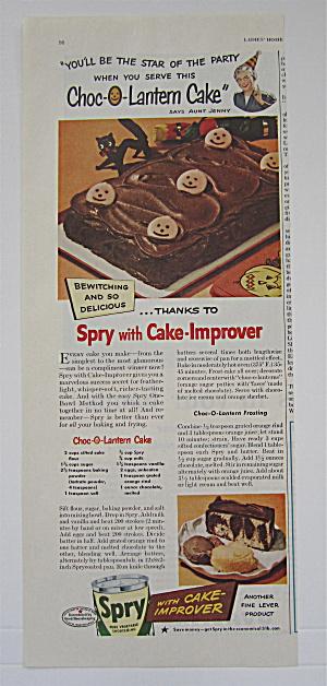 1948 Spry Vegetable Shortening with Choc O Lantern Cake (Image1)