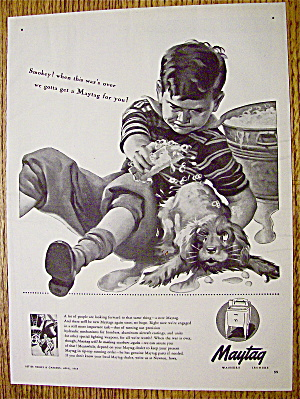 1944 Maytag Washers with Boy Giving Dog A Bath (Image1)
