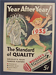 1935 Wrigley's Spearmint Gum Ad With Baby New Year