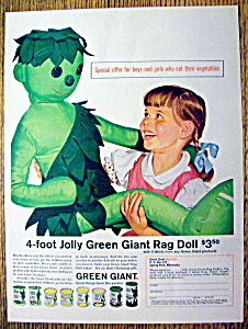 1962 Jolly Green Giant With Girl Amp Green Giant Rag Doll