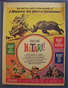 1962 Movie Ad For Hatari