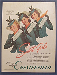 Vintage Ad: 1940 Chesterfield Cigarettes W/ Smart Girls