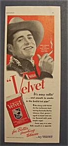 Vintage Ad:1940 Velvet Cigarette Tobacco w/ John Jordan (Image1)