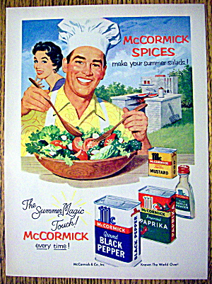 1954 Mccormick Spices With Man Mixing Salad