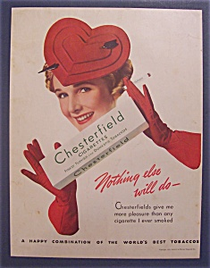 1939 Chesterfield Cigarettes W/woman Holding Cigarettes