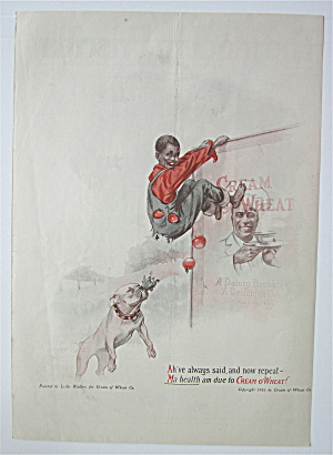 1916 Cream Of Wheat Cereal With Boy Hanging On Sign