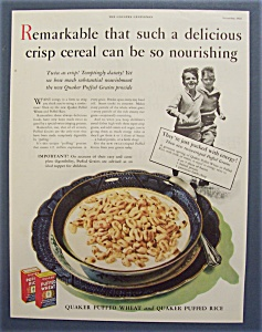 1932 Quaker Puffed Wheat & Rice Cereal
