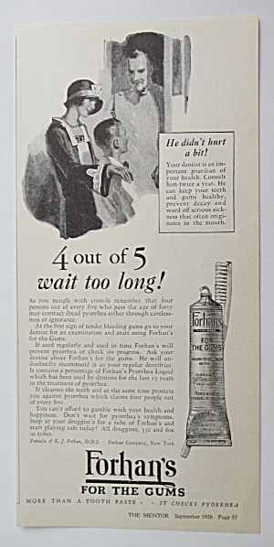 1926 Forhan's For The Gums w/ Woman & Boy With Dentist (Image1)