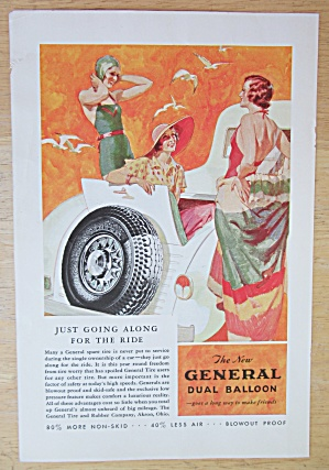 1933 General Dual Balloon Tires with Woman by the Car  (Image1)