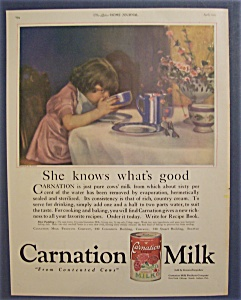 1923 Carnation Milk With Girl Drinking Milk From Bowl