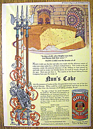 1923 Royal Baking Powder With Nun's Cake