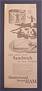 1923 Underwood Deviled Ham With Sandwich On A Plate