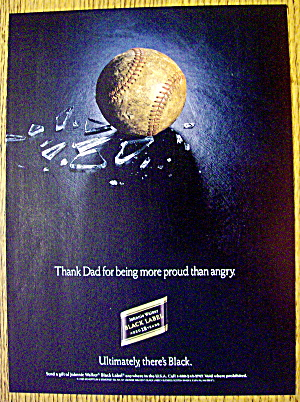 1990 Johnnie Walker Black Label Whiskey With Baseball