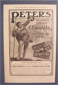 1906 Peter's Swiss Milk Chocolate Ad With Message
