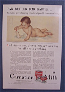 1931 Carnation Milk With Baby Laying On Belly & Playing